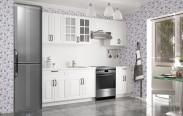 Michelle - Kuchyňský blok, 200/260 cm (bílá,černá úchytka)