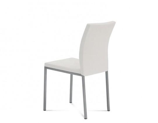 Miro - Jídelní židle (saténový hliník, eko kůže bílá)