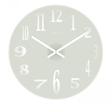 Mirror - hodiny, nástěnné, kulaté (sklo, bílé)
