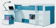 Mobi - Postel se stolem 205/105,5/115,5 (bílá lesk/tyrkysová)