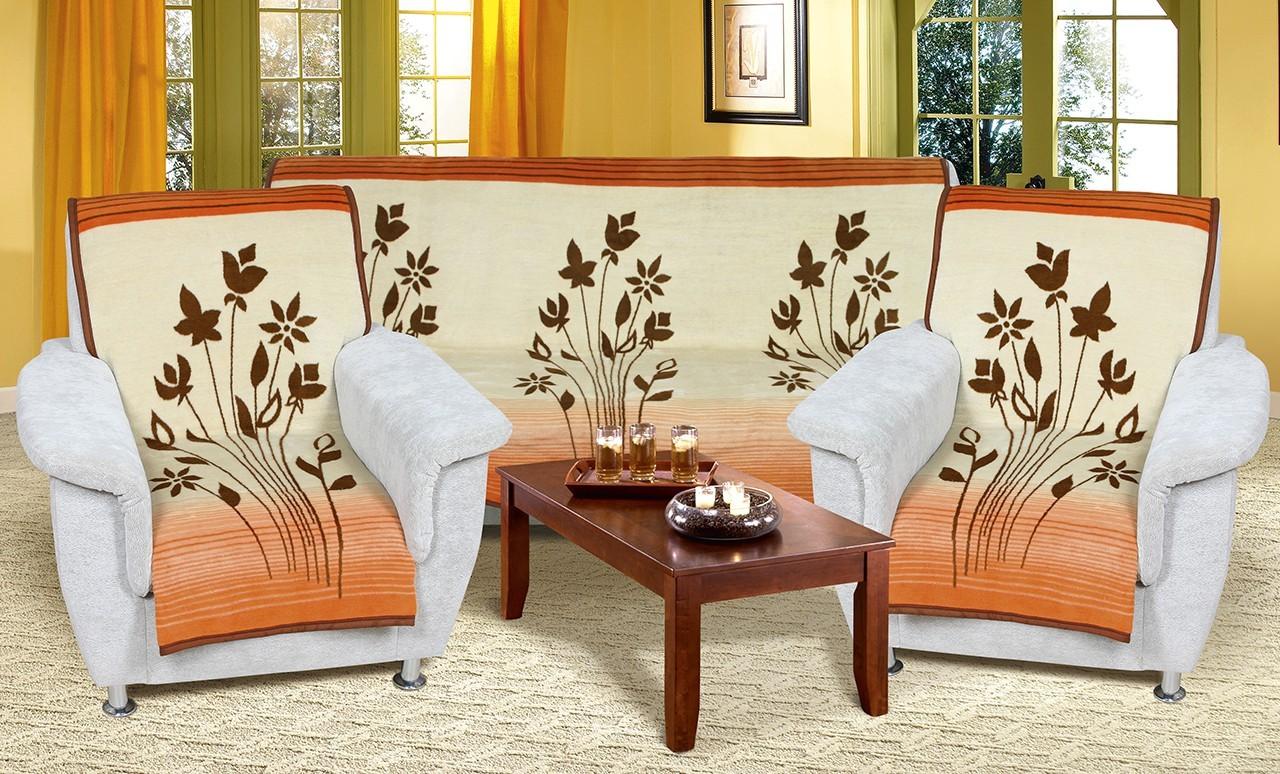 NÁBYTEK Karmela Plus - Přehozové deky, 2457/493 (béžovomedové květy)