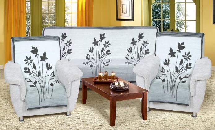 NÁBYTEK Karmela Plus - Přehozové deky, 2457/840 (šedé květy)