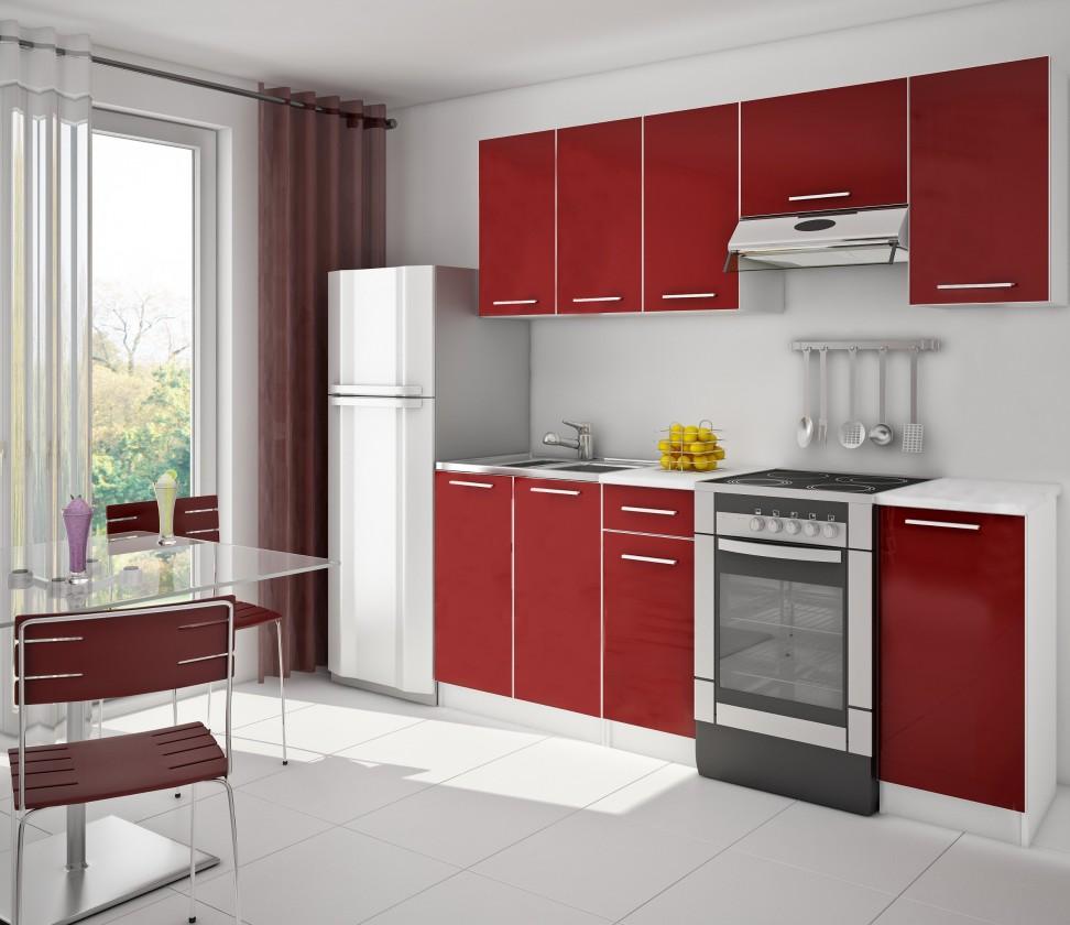 Nábytek Red 14 - Kuchyňský blok (bílá / červená)