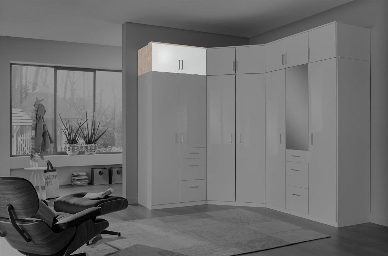 Nádstavec Clack - Nástavec na skříň, 2x dveře (dub, bílá)