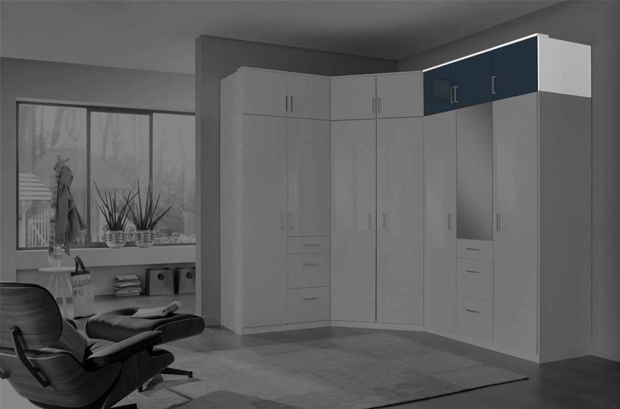 Nádstavec Clack - Nástavec na skříň, 3x dveře (černá, bílá)