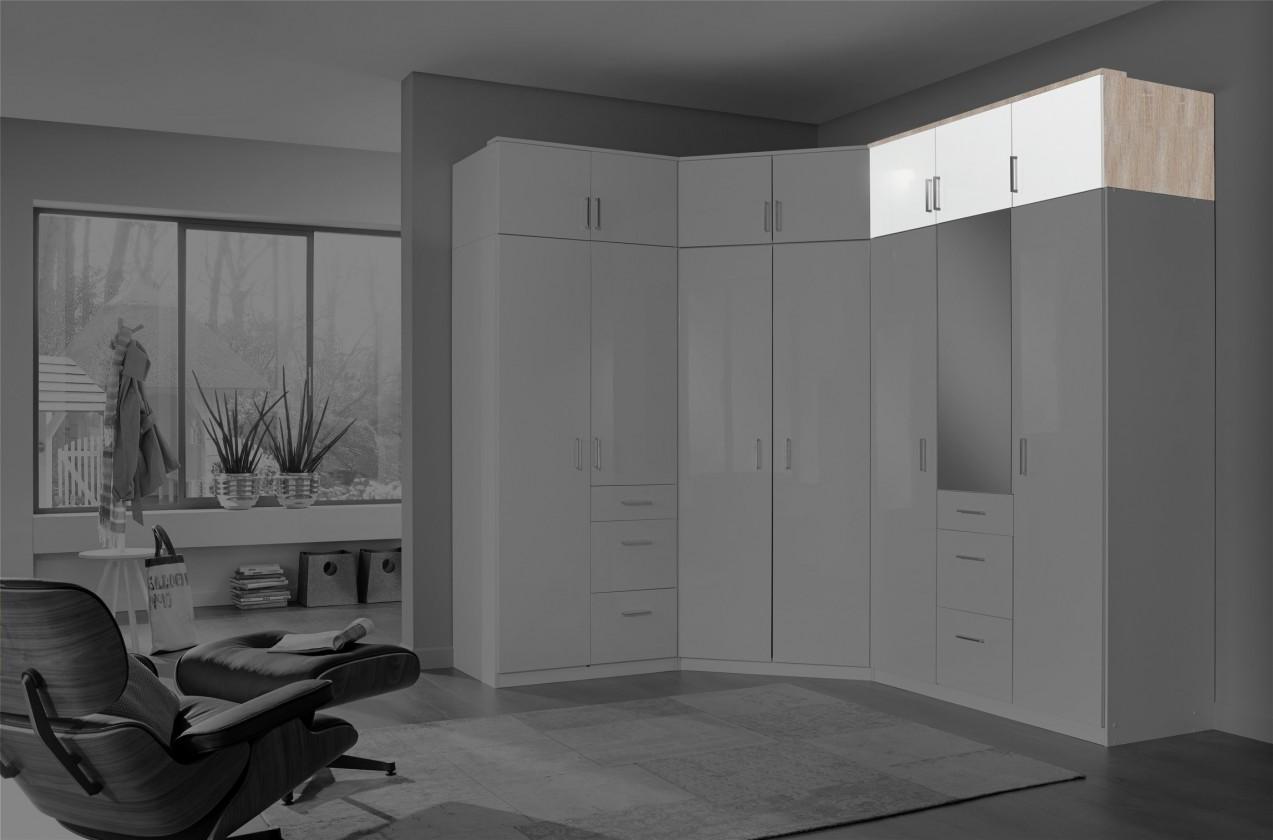 Nádstavec Clack - Nástavec na skříň, 3x dveře (dub, bílá)