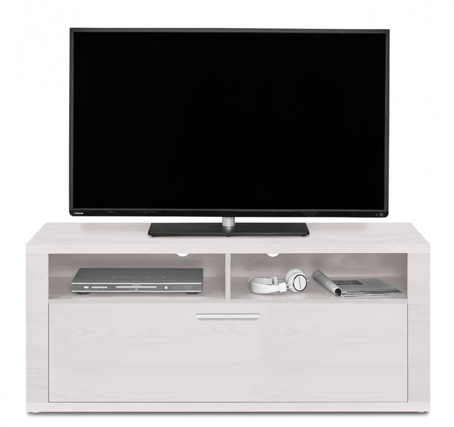 Nádstavec na TV stolek Cool - TV prvek s klopnou (modřín bílý/modřín bílý)