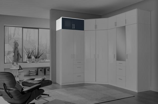 Nástavec Clack - Nástavec na skříň, 2x dveře (černá, bílá)
