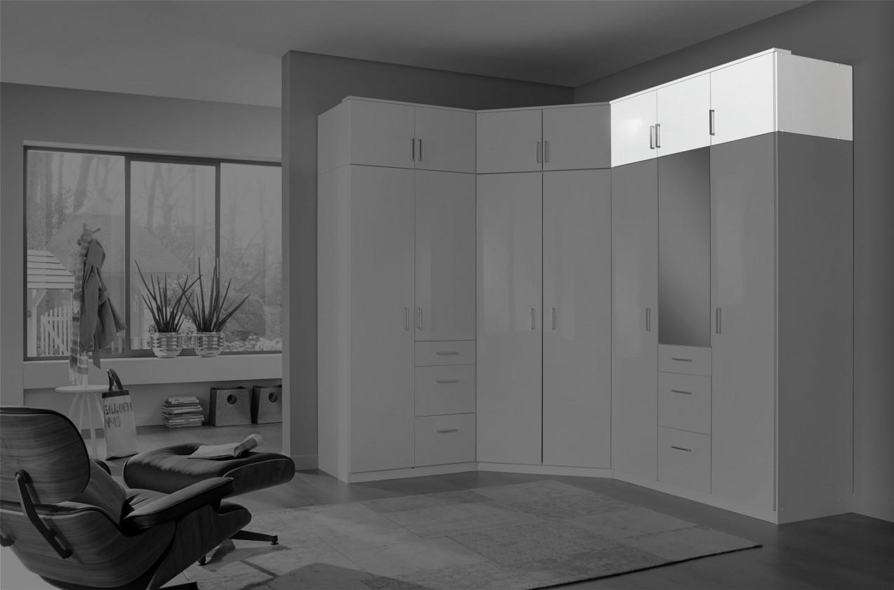 Nástavec Clack - Nástavec na skříň, 3x dveře (bílá, bílá)