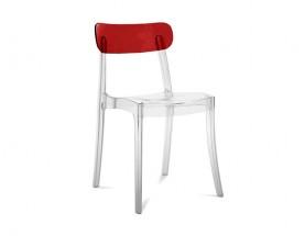 New retro - Jídelní židle (transparentní, bordó)