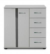 Nizza - komoda,1x dveře,4x zásuvka (alpská bílá+šedá vysoký lesk)