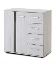Nizza - komoda, 1x dveře, 4x zásuvka (dub bílý+šedá vysoký lesk)