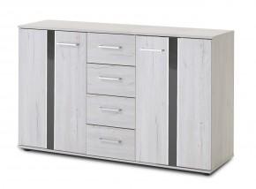 Nizza - komoda, 2x dveře,4x zásuvka (dub bílý+šedá vysoký lesk)