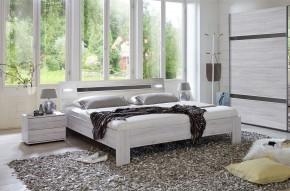 Nizza - komplet, postel 160cm (dub bílý,šedá vysoký lesk)