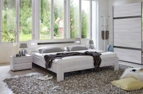 Nizza - komplet, postel 180cm (dub bílý,šedá vysoký lesk)