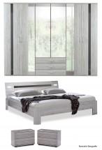 Nizza-skříň,postel 200x160cm (alpská bílá+šedá vysoký lesk)