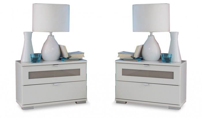Noční stolek Advantage - Noční stolek 2x (alpská bílá/šedá)