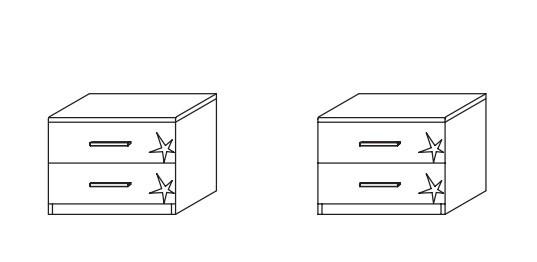 Noční stolek Celle A9N26.646Z - pár (alpská bílá/lesk šedá lávová)