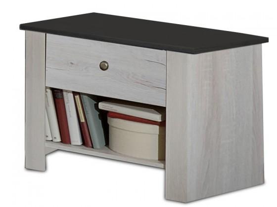 Noční stolek Chateau - noční stolek (dub bílý/lava černá)