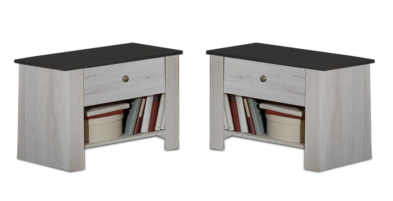 Noční stolek Chateau - noční stolek set (dub bílý/lava černá)