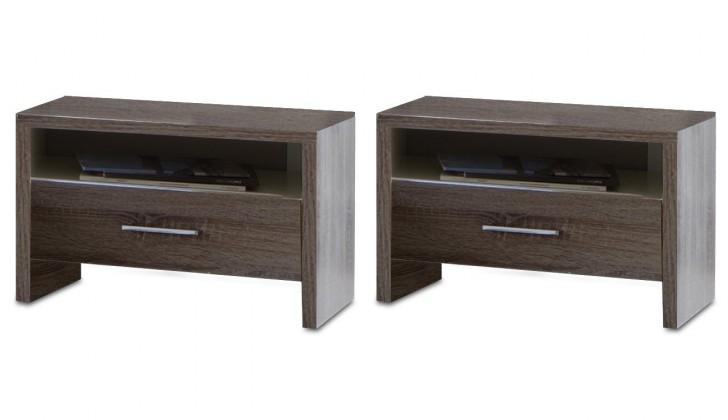 Noční stolek Corfu - Noční stolek 2x (dub montana, lava černá)