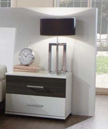Noční stolek Dora 769697(alpská bílá, zrcadlo, wenge brasil)