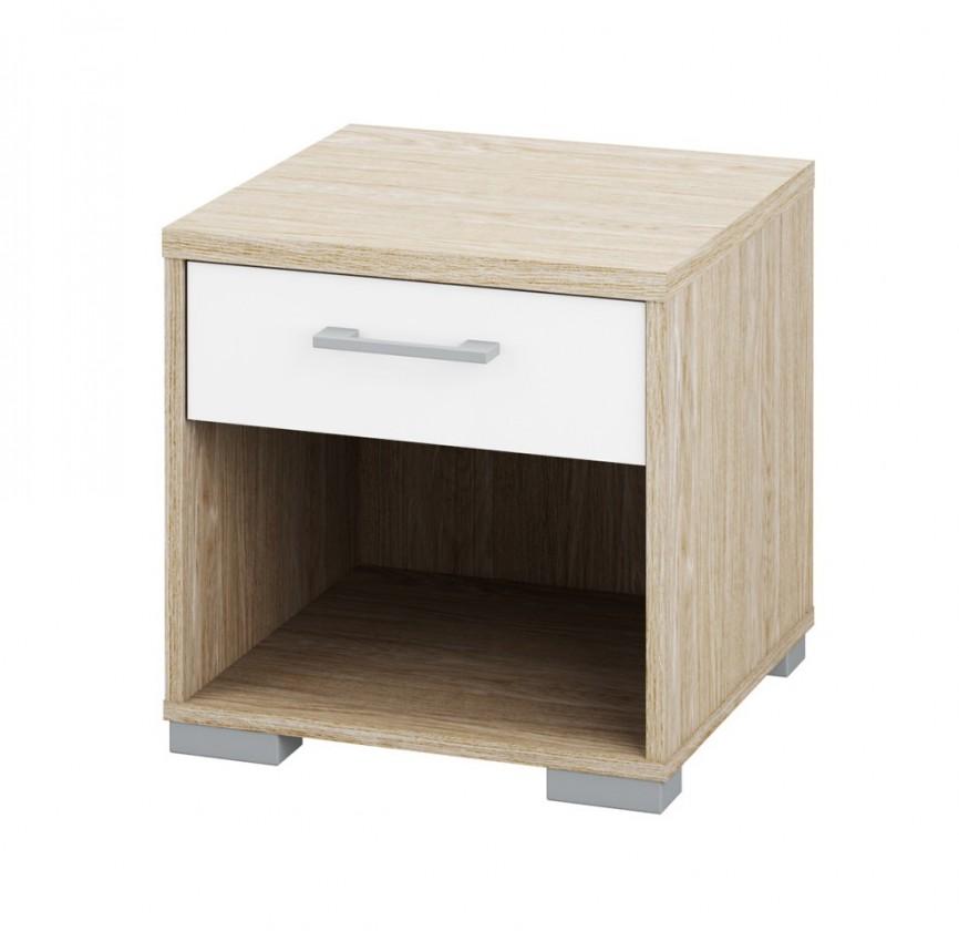 Noční stolek Homeline - výška 40cm (dub, bílá, vysoký lesk)