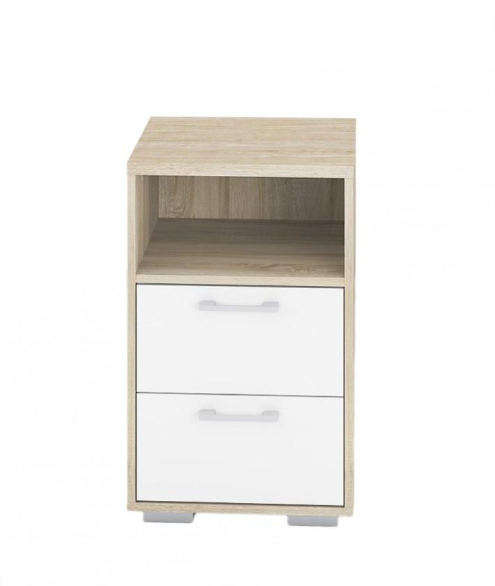 Noční stolek Homeline - výška 64cm (dub, bílá, vysoký lesk)