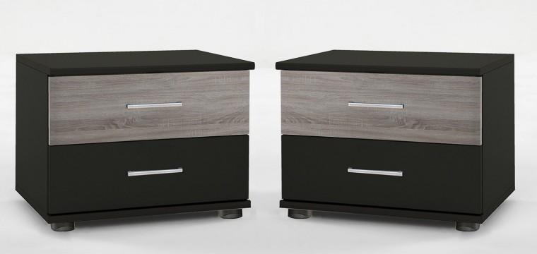 Noční stolek Madrid - Noční stolek 2x (lava černá/dub)