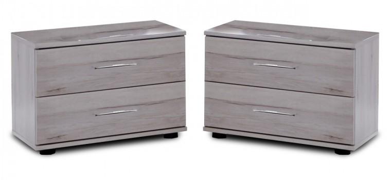 Noční stolek Nizza - 2x noční stolek, 2x zásuvka (dub bílý+šedá vysoký lesk)