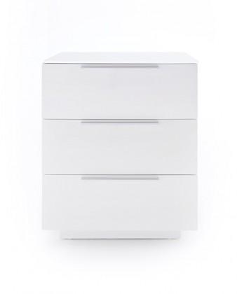 Noční stolek Noční stolek Heda (3 zásuvky, bílá lesk, bílé sklo)