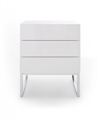 Noční stolek Noční stolek Heda (3 zásuvky, bílá lesk, chromovaný rám)