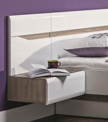 Noční stolek Noční stolek Leone - závěsný, levý (dub trufel, bílá lesk)