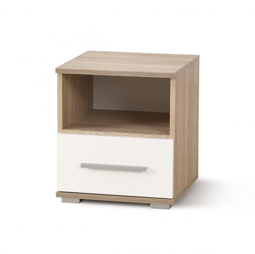 Noční stolek Noční stolek Lima (dub sonoma, bílá)