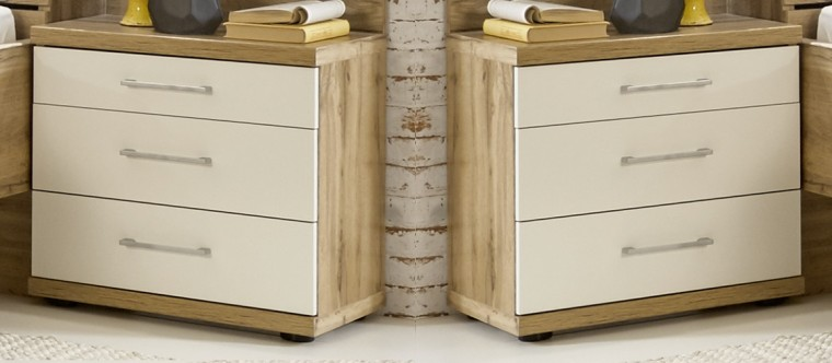 Noční stolek Noční stolek Padua - 3x zásuvka, 2 ks (dub balken/alpská bílá)
