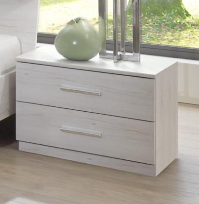 Noční stolek Noční stolek Susan (bílý dub, 2x zásuvka)