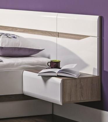 Noční stolek Nočný stolík Leone - závěsný, pravý (dub trufel, bílá lesk)