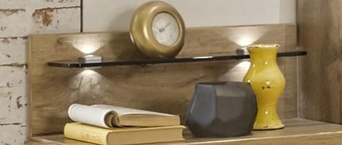 Noční stolek Padua - Deska nočního stolku, skleněná police, 2ks (dub balken)
