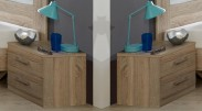 Noční stolek Pamela - 2ks (dub,sklo,chrom)