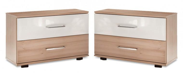 Noční stolek Rio - Noční stolek 2x (buk/bílý lesk)