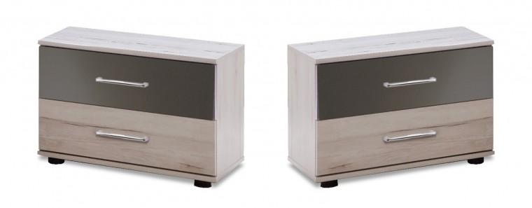 Noční stolek Rio - Noční stolek 2x (dub bílý/macchiato lesk)