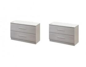 Noční stolek Susan 2 ks (bílý dub, 2x zásuvka)