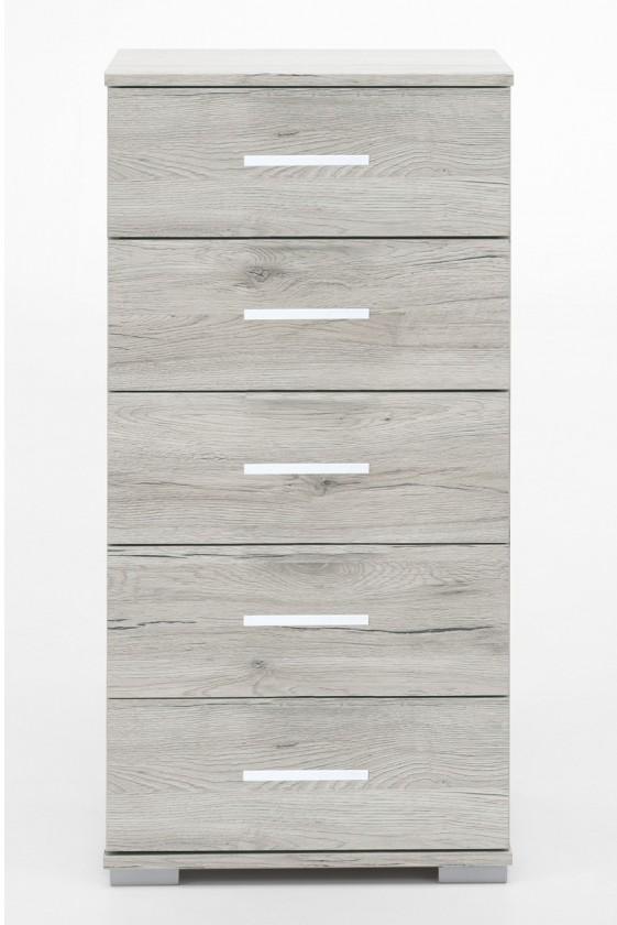 Noční stolek Sylt - Komoda, 5x zásuvka (dub bílý, šedá)