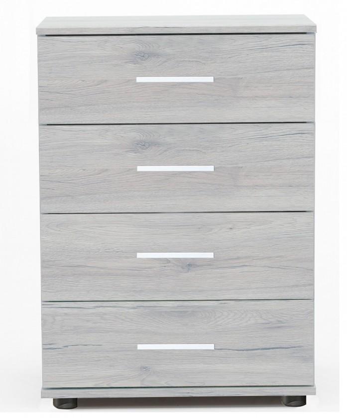 Noční stolek Sylt - Noční stolek 3 (dub bílý, šedá)