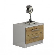 Noční stolek Tigra (bílá, dub artisan)