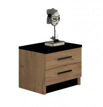 Noční stolek Tofta (dub craft, černá)