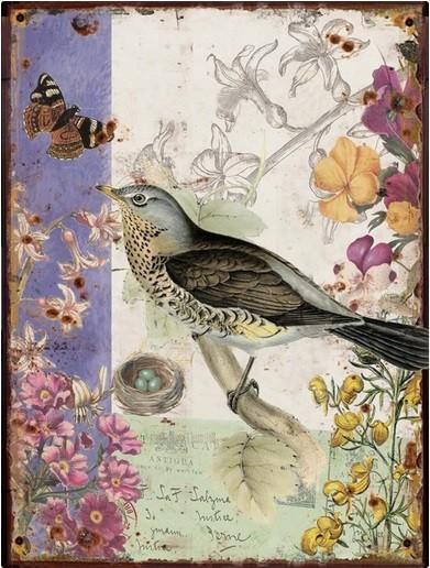 Obraz na zeď - plátno (béžovo-fialová s ptáčkem)