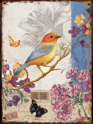 Obraz na zeď - plátno (béžovo-modrá s ptáčkem)