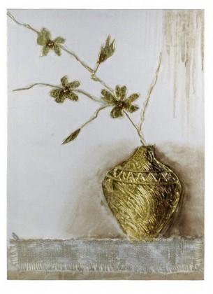 Obraz na zeď - plátno (béžovo-zlatá váza)
