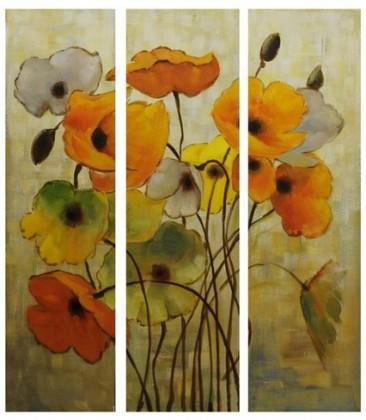 Obraz na zeď - plátno, sada 3ks (barevné květiny)